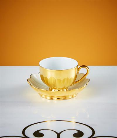 Hoffmann Coffee Cup & Saucer in Gold